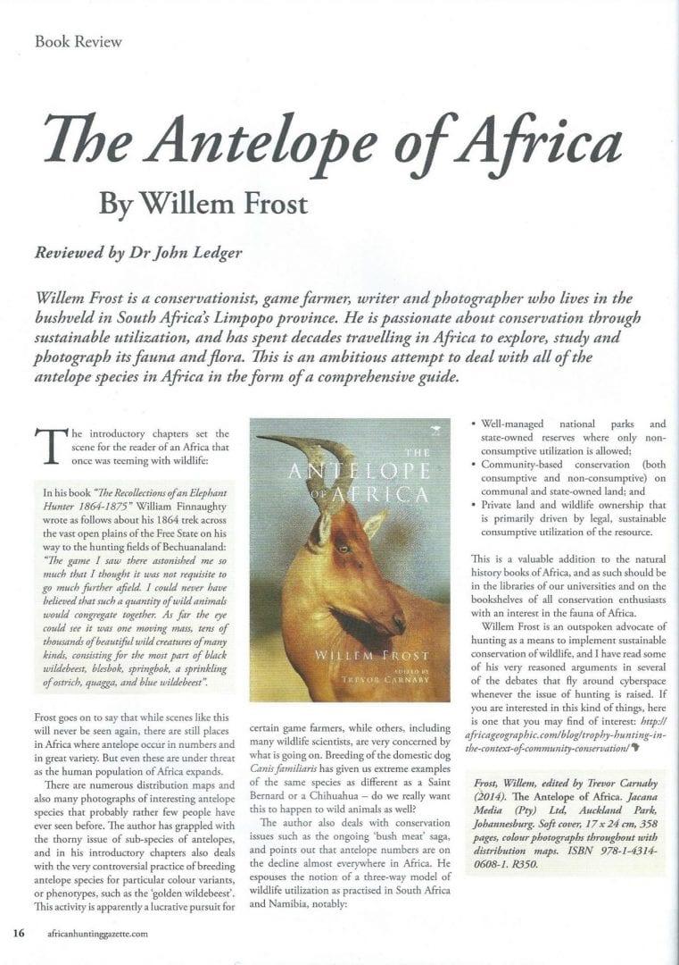 Review - The Antelope of Africa - Dr John Ledger